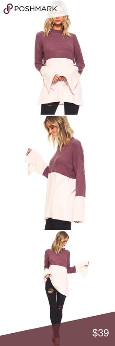SALENew Arrival Mauve/Blush Top S,M,L,XL TWO TONE COLOR BLOCK BRUSHED HACCI MOCK NECK L/S TOP W/BELL SLEEVE.  95%RAYON, 5%SPANDEX.  MADE IN USA.  HAND WASH COLD, NO BLEACH, IRON ON LOW. Tops Blouses