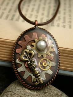 One of Kind, Mixed Media Steampunk Pendant Necklace from Black River Beads for $15.00