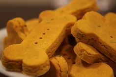 Crunch and Munch: This recipe for wheat-free dog biscuits is filled with healthy ingredients, such as eggs, organic pumpkin, and parsley, which leaves your pup's breath nice and fresh.