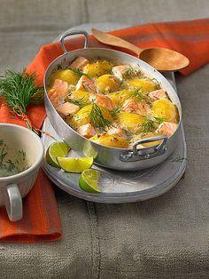 Gratinierte fiDillkartoffeln mit Lachs, schnell und lecker