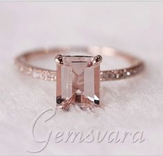 VS 6x8mm Emerald Cut Morganite H/SI Diamond Claw Prongs 14K Rose Gold Engagement Wedding Ring US $369.00 - 419.00