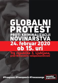 """⏳ in Solidarity Action via & Globalni protest proti kriminalizaciji novinarstva Public Hosted by Free Assange Slovenia and Protestival Monday, February 2020 at 3 PM British Embassy Ljubljana"" Chelsea Manning, Slovenia, Street, February"
