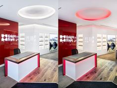 Colour change ceiling light, backlit signage and under counter desk lighting for this estate agents office design