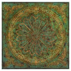 Medallion-inspired wall decor in green and gold.   Product: Wall decorConstruction Material: Metal