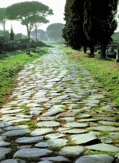 The Roman Empire made great advancements in transportation through the use of roads. These roads allowed for easier trade and effective travel between cities. Ancient Ruins, Ancient Rome, Ancient Greece, Ancient History, Appian Way, Stone Road, Roman Roads, Roman Britain, Roman Republic