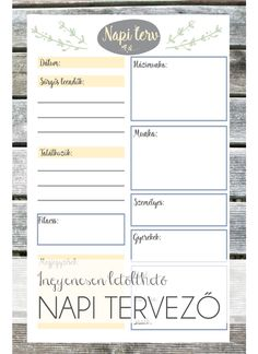 Ingyenesen letölthető napi tervező A4-es és A5-ös méretben  #free #printable