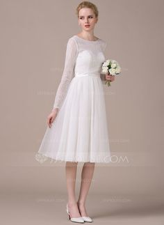 A-Line/Princess Scoop Neck Knee-Length Tulle Charmeuse Lace Wedding Dress With Bow(s) (002058760) - JJsHouse