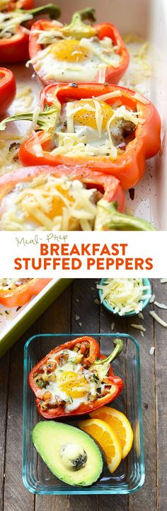 Get your meal prep on with these delicious breakfast stuffed peppers! They're made with a breakfast sausage/sweet potato hash mixture on the bottom and a baked egg on top.