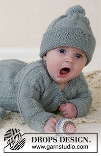 Lille Trille - Knitted jacket with round yoke and cables, hat with pompons, mittens and socks in DROPS Alpaca for baby and children. Size 1 to 3 years. - Free pattern by DROPS Design Baby Knitting Patterns, Baby Cardigan Knitting Pattern Free, Knitting For Kids, Baby Patterns, Free Knitting, Knitting Projects, Knit Baby Sweaters, Knitted Baby Clothes, Baby Kids Clothes