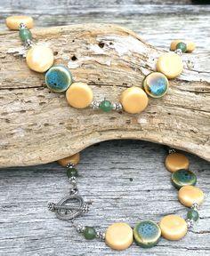Ceramic Bead Necklace, Beaded Jewelry