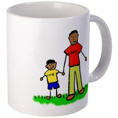 """#Father & #Son #Mugs / #Cups shows the family holding #hands. The #man's shirt read #daddy & the #boy's #shirt reads """"me"""". #Family has #black hair & #tan #skin. Family comes in multiple #ethnic versions #FathersDay #Christmas #Dad #Gifts"""