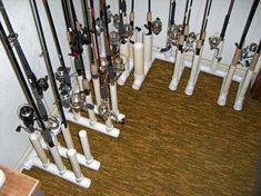 It's like a rod 'library'! Fishing Pole Storage, Fishing Pole Holder, Kayak Storage, Fishing Poles, Fly Fishing, Fishing Meme, Fishing Cart, Storage Rack, Pvc Rod Holder
