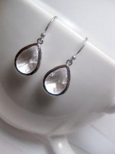 Huge Spring Sale Clear Earrings Teardrop by FashionCrashJewelry