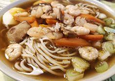 Shiitake gombás, garnélás ramen Spaghetti, Ethnic Recipes, Food, Essen, Meals, Yemek, Noodle, Eten