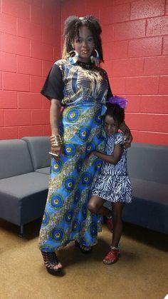 Backstage @ Bokafloja. Self-designed african print skirt.