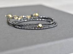 New design on everyday jewelry! Gold plated sterling silver fine elements combined with hammered hematite give an outstanding outcome! Wrap Bracelets, Beaded Bracelets, News Design, Sterling Silver, Gold, Jewelry, Instagram, Jewlery, Jewerly