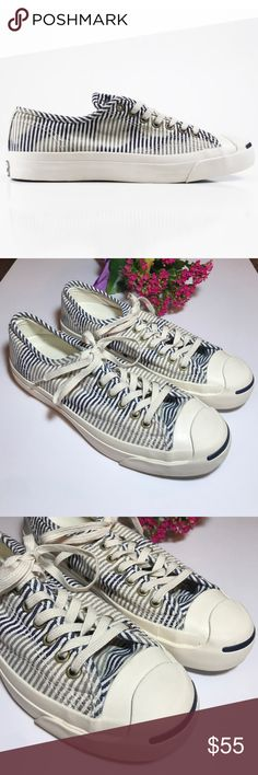 • CONVERSE • Jack Purcell salt wash stripe Worn once Converse Jack Purcell salt wash stripe. Unisex. Women's size 9. Men's size 7.5. Worn once. Excellent condition- like new. Open to reasonable offers!  Converse Shoes Sneakers