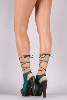 Breckelle Suede Studded Lace Up Platform Heel