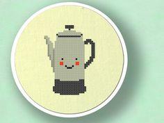 Smiling Coffee Percolator. Cross Stitch Pattern. PDF File. $3.00, via Etsy.