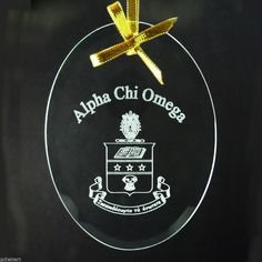 Alpha Chi Omega Sorority ΑΧΩ Name & Crest Beveled Crystal Ornament/Sun Catcher  #McCartney