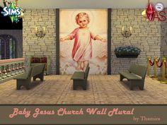 Baby Jesus Church Wall Mural  Wandgemälde mit dem kleinen Jesuskind für eine Kirche.  Mural with the little baby Jesus for a church.  https://www.allaboutsims.net/forum/index.php/Thread/16209-Baby-Jesus-Church-Wall-Mural/?postID=78398#post78398
