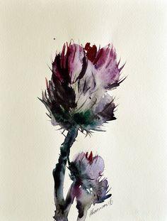 Thistle original watercolor painting. Nature by AlisaAdamsoneArt