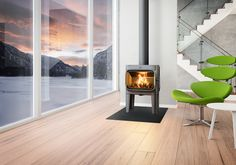 cast iron stove - The Anderssen & Voll design studio and collective has created the F 305 cast iron stove for Jotul, one of the world's oldest and most ren. Modern Wood Burning Stoves, Log Burning Stoves, Wood Stoves, Stove Fireplace, Fireplace Design, Foyers, Cast Iron Stove, Log Burner, Uk Homes