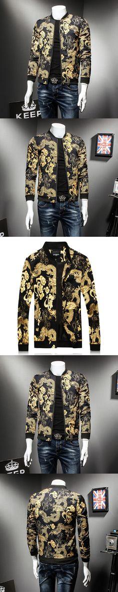 2017 Dragon Printed Jackets Mens Gold And Black Baseball Jackets Mens Bomber Jackets Mens Luxury Vintage Chinese Style Jaqueta