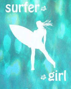 Surfer Girl Art Print - Aqua Bokeh Quote Surfing Ocean Girl Room Decor Wall Art Photograph. $25.00, via Etsy.
