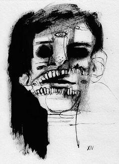 Marina González Eme – Black Ink series, Encre sur papier, 21 x 29 cm, 2014 Creepy Art, Weird Art, Arte Horror, Horror Art, Arte Grunge, Arte Peculiar, Kunst Tattoos, Posca Art, Illustrations