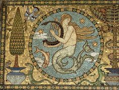 mermaid with harp - Walter Crane - Detail of the gold mosaic floor, c.1881