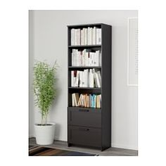 IKEA - BRIMNES, Bookcase, white, , Adjustable shelves, so you can customize your storage as needed.Smooth-running drawers with drawer stops to keep them in place.