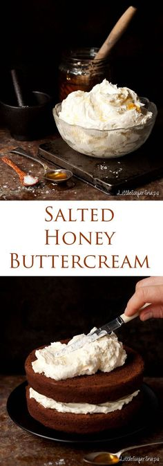 Salted Honey Buttercream is piquant and mellow. Great with chocolate. Salted Honey Buttercream is piquant and mellow. Great with chocolate. Frosting Recipes, Cupcake Recipes, Baking Recipes, Cupcake Cakes, Dessert Recipes, Buttercream Frosting, Chocolate Buttercream, Chocolate Fondant, Cake Filling Recipes