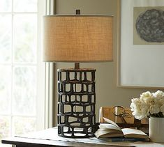"Would this be good on the end tables in LR?  Its 30.25"" hi and 9.25"" dia.  $200 w/o lamp shade.    Ventana Iron Table Lamp Base #potterybarn"