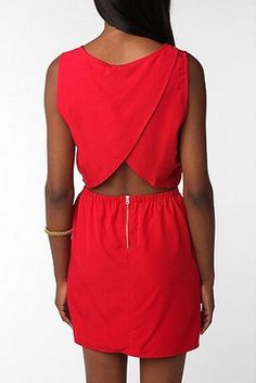 This little red dress is great because it has a cutout but you can still wear a normal bra! =)