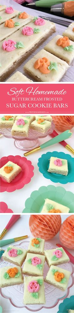 Make these Soft Homemade Buttercream Frosted Sugar Cookie Bars for any occasion. Recipe is here: http://www.FronieMaeBakes.com