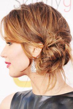 Jennifer Lawrence Messy Side Bun - How To Get Jennifer Lawrence Side Bun - ELLE