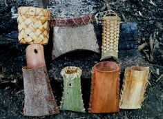 Woven and stitched bark baskets