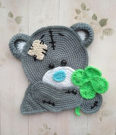 PATTERN, Teddy Bear Applique PDF Crochet Pattern Applique Crochet Pattern Crochet Clover Embellishment Accessories Motif Ornament Animal ENG