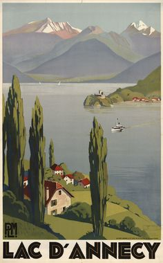 Vintage Poster Vintage Lake DAnnecy French France Travel Poster Re-Print - Kunst Poster, Poster S, Poster Prints, Art Vintage, Vintage Travel Posters, French Vintage, Photos Vintage, Lake Annecy, Annecy France