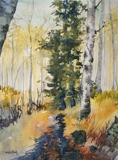 A Walk in the Forest, watercolor on paper by Angela Fehr