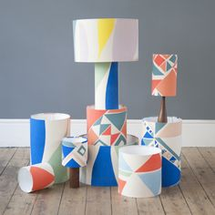 Tamasyn Gambell has collaborated with mid-century design store Forest London print & pattern Patterned Lampshades, Handmade Lampshades, Textures Patterns, Print Patterns, Painting Lamp Shades, Painting Lamps, Printing On Fabric, Textile Printing, Soft Furnishings
