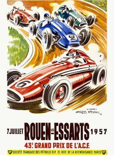 1957 Rouen les Essarts GP Ad by Geo Ham Fine Art Print