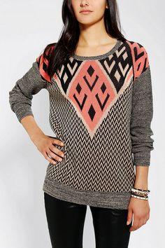 / Ecote Intarsia Pullover Sweater