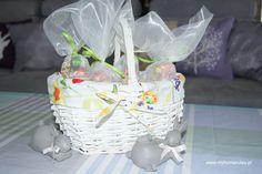 Easter Sugar Cones in a basket #easter #basket #cone #decorations wielkanocne słodkie rożki www.myhomerules.pl