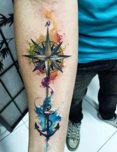 Compass is a navigational instrument to determine the direction of magnetic north. Compass tattoo designs, also known as nautical tattoos are usually inked in many stylish ways, like compass and Bild Tattoos, Body Art Tattoos, New Tattoos, Tatoos, Strong Tattoos, Arm Tattoos For Guys, Trendy Tattoos, Tattoos For Women, Disney Tattoos For Men