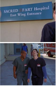 """I love that throughout this episode Dr. Kelso would say """"here at sacred fart"""" and then burst into laughter. It makes me laugh too and every time I see the name of the hospital that's all I can think of Turk And Jd, Scrubs Quotes, Scrubs Tv Shows, Everything Funny, Tv Show Quotes, Nurse Humor, Fart Humor, Funny People, Funny Things"""