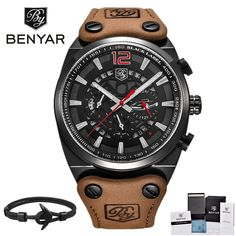 """Universe of goods - Buy """"BENYAR Mens Watches Military Army Chronograph Watch Brand Luxury Sports Casual Waterproof Male Watch Quartz Man Wristwatch XFCS"""" for only USD. Sport Watches, Cool Watches, Men's Watches, Silver Watches, Cheap Watches, Montres Hugo Boss, Johnnie Walker, Tactical Watch, Skeleton Watches"""