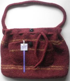 Felt Shoulder Tote Mahogany Bag Alpaca Handbag, Hand Knit Felted Bags 🎉2018 Sale on all in shop items only + there is an extra 10% off from mar.22 thru mar. 29  Spend $25.00 or more (without shipping cost) and get free domestic shipping.