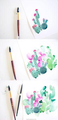 Watercolor cactus painting tutorial | Inkstruck Studio